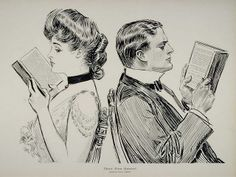 "Vintage Blog | Charles Dana Gibson ""Their First Quarrel (1914)"" man and woman turn their backs on one another and turn their attention to their books"