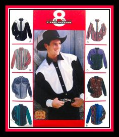 RHINESTONE COWBOY-Men's Western Shirt Collection-Sewing Pattern-Eight Styles-Shaped Yoke-Piping -Easy Loose Fit-Uncut-Size XXXL-54-56-Rare by FarfallaDesignStudio on Etsy