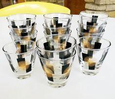 """Black Gold #Starburst #Atomic #DoubleShot #Cordial #Glasses Vintage Retro 2-7/8"""" http://www.ebay.com/itm/Black-Gold-Starburst-Atomic-Double-Shot-Cordial-Glasses-Vintage-Retro-2-7-8-/381375342251… #myricky"""