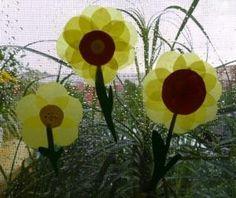 Sonnenblume aus Transparentpapier - Pflanzen Basteln - Meine Enkel und ich