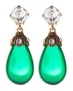Crystal Resin Drop Clip-On Earrings, Kelly Green by Oscar de la Renta at Neiman Marcus.