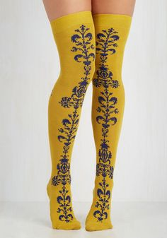 Vine of What's to Come Thigh Highs - Yellow, Blue, Novelty Print, Embroidery, Party, Work, Casual, Vintage Inspired, 60s, 70s, Statement, Fall, Winter