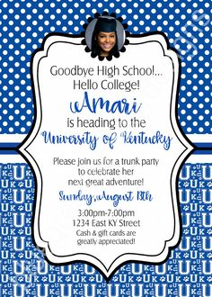 Graduation Trunk Party College Send Off Party Any School/University- PRINTABLE Invitation