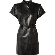 TOM FORD Belted leather mini dress (€4.360) ❤ liked on Polyvore featuring dresses, leather zipper dress, zip dress, mini dress, leather dresses and short leather dress