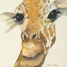 art painting of giraffe | Jeffrey Giraffe Painting by Jerry Kelley -
