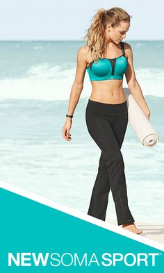 Happy New You! You are resolution-ready, whether your resolutions are high impact or yoga. New maximum support sports bras from Soma, the experts in bra fit, include underwire, contour and wireless bras, sizes 32A-44G, with moisture wicking, quick dry fabric and breathable technology. Athleisure and yoga wear is fit and fashionable, with multiple styling options including pants, tunics, leggings, tanks and jackets. VIEW THE COLLECTION