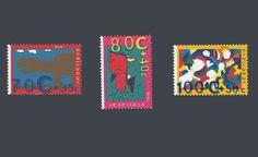 """De kinderpostzegels uit 1995 met het thema """"Kind & Fantasie"""". Een wedstrijd voor kinderen om een Kinderpostzegel te ontwerpen met de computer. Ontwerp: Sjoerd Stegeman, Marcel Jansen, Leonie Ensing. Ontwerp typografie: Julius Vermeulen"""