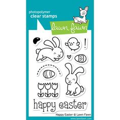Hop your way to a happy Easter with this cute collection of 11 clear stamps. ♥ CHECK OUT THIS GREAT VIDEO: Lawn Fawn Clear Stamps. These clear stamps are just cute! They feature cute little images and