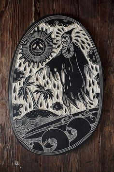 Bryn Perrott's cool wood carvings are the result of: A) she was a printmaking major in college, B) she has worked in a tattoo shop which influenced her illustration style. There is also a cartoon flair in some of her designs, like the Grim Reaper is flustered as he surfs four waves near aparadisiac island..... http://illusion.scene360.com/art/56867/tattoo-inspired-woodcuts/