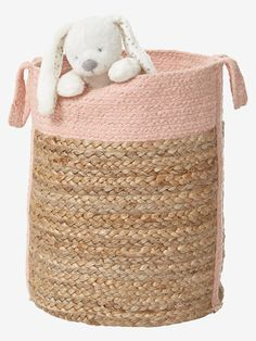 This basket is very easy to handle and can carry your children's laundry as well as store their teddies and toys. o pink part jute, cotton. Pink Toddler Rooms, Toddler Toys, Jute, Toy Storage Baskets, Calla, Decorative Storage, Elegant Homes, Colour Schemes, Kids Decor
