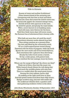 """'""""Ode to Autumn"""" by Keats, especially good as a card.' by Philip Mitchell To Autumn John Keats, Pagan Poetry, All Fruits, Three Year Olds, Love Poems, End Of Summer, How Beautiful, Four Seasons, Literature"""