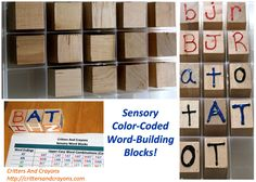 Critters And Crayons DIY Wooden Sensory Color-Coded Word-Building Blocks!    Super simple method of helping early readers build words using color-coded word endings that they can trace with their fingers!   Tutorial and printables included to make your own!  A  hands-on learning, DIY Montessori-inspired activity!