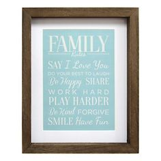 "Stratton Home Decor ""Family Rules"" Framed Wall Art"