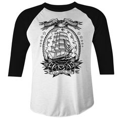 Men's Red Devil Clothing Mariner Raglan T-Shirt White/Black: Mariner Raglan T-Shirt Men's White/Black By Red Devil Clothing. Cotton, Heavyweight oz Raglan sleeve T-shirt with 1 color clipper ship and roses front print. Greaser Style, Nautical Tees, Tattoo T Shirts, Tattoos, Shirt Sleeves, Colorful Shirts, Menswear, Mens Tops, Tattoo Ship