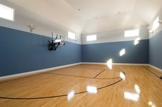 Indoor basketball court! Home Basketball Court, Sports Court, Wet Bars, Home Additions, At Home Gym, Building Toys, First Home, Dream Houses, New Construction