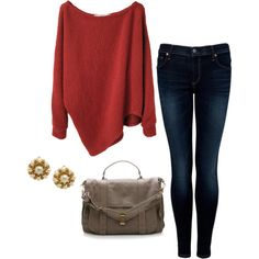 My idea of cute and comfy. Slouchy sweaty. Dark skinnies. large purse and simple pretty earings. love love love.