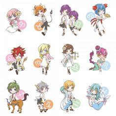 Cute Zodiac signs in chibi anime style. Anime Zodiac, 12 Zodiac, Zodiac Art, Zodiac Horoscope, Aquarius, Zodiac Capricorn, Anime Chibi, Anime Art, Otaku Anime