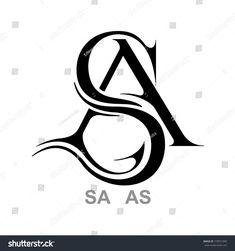 Monogram A&S, S&A Letter S Designs, Alphabet Tattoo Designs, Alphabet Letters Design, S Letter Images, Lettering Styles, Lettering Design, Typography Logo, Graphic Design Typography, Monogram Tattoo