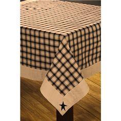 Good Black Primitive Star Tablecloth, Barn Star Country Linens Table Cloth