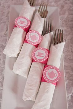 Tea Party Birthday Party - Napkin Rings - Silverware Wraps - Tea Party Decorations in Hot