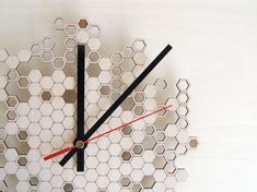 wood wall clock Honeycomb version TWO von AsymmetreeDesign auf Etsy