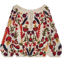 Alice + Olivia Naya off-the-shoulder embroidered crinkled-gauze top (22.795 RUB) ❤ liked on Polyvore featuring tops, shirts, blusas, cream, bohemian tops, pink shirts, boho tops, pink off the shoulder top and embroidered shirts