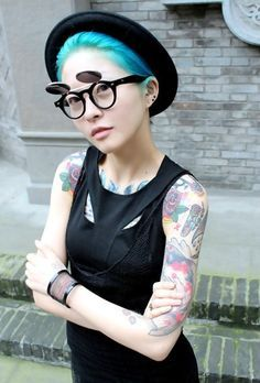 From the web. This might be a collective of industrial fashion and hipster style. .. I really like the combo!