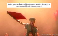 """it's just not a production of les mis unless grantaire lifts gavroche onto his shoulders in """"one day more""""."""