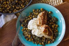 Warm spinach and chickpea salad and sautéed chicken by Akis. The combination of chickpeas, spinach and chicken make a very tasty, healthy and nutritious salad.