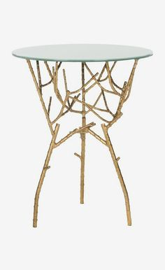 Safavieh Furniture - Inspired by nature's inherent beauty, the Tara Accent Table's white glass top is perfectly perched atop sculpted gold-finished legs reminiscent of Glass Side Tables, End Tables, Coffee Tables, Sofa Tables, Table Furniture, Home Furniture, Iron Furniture, Furniture Ideas, Metallic Furniture