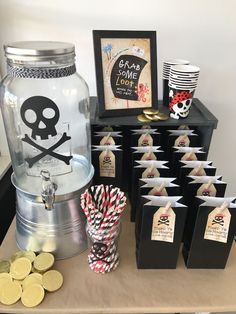 Pirate Birthday Party Beverage bar from a Pirate Birthday Party on Kara's Party Ideas KarasPartyIdea Pirate Party Decorations, 50th Birthday Party Decorations, 4th Birthday Parties, Birthday Ideas, Pirate Party Favors, Pirate Birthday Invitations, 21 Birthday, Deco Pirate, Pirate Kids
