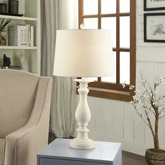 Distressed Cream Antique Table Lamp from Kirkland's