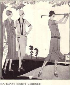 1920s golfer illustration