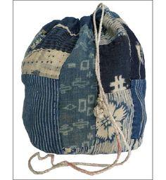 Indigo Boro Komebukuro (rice bag),   handspun & hand loomed fabric.