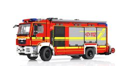 Virtual Lego models created using LDraw parts. Lego City Fire Truck, Fire Trucks, Rescue Vehicles, Lego Vehicles, Lego Fire, Fireman Sam, Lego Man, Lego Room, Lego Models
