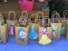 Goodie bags with all the Disney princess's for my daughters princess party! Disney Princess Centerpieces, Disney Princess Gifts, Princess Birthday Party Decorations, Disney Princess Birthday Party, Princess Party Favors, Kids Party Decorations, Birthday Party Favors, Ideas Party, 4th Birthday