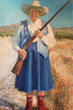 A painted portrait of Hallie Crawford Stillwell stands tall at the museum dedicated to the legendary cowgirl of the Big Bend