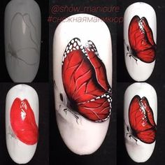 Heat Up Your Life with Some Stunning Summer Nail Art Butterfly Nail Designs, Butterfly Nail Art, Nail Art Designs Videos, Toe Nail Designs, Rose Nails, Flower Nails, Ladybug Nails, Beach Nail Art, Nail Drawing