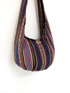 Woven Cotton Bag Hippie bag Hobo Boho bag Shoulder by veradashop