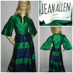 Vintage 70s JEAN ALLEN Green/Navy WING Slvd maxi evening dress 8 Xs 1970s Original check Party by HoneychildLoves on Etsy