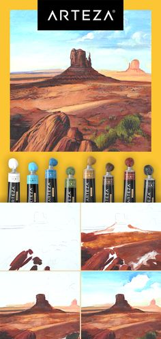 Climb the mountains of your artistry and reach the peak of your creativity with Arteza Acrylic Paints.🖌 Start creating today! Landscape Illustration, Watercolor Landscape, Abstract Landscape, Illustration Art, Gouache Painting, Diy Painting, Painting & Drawing, Watercolor Paintings, The Art Sherpa