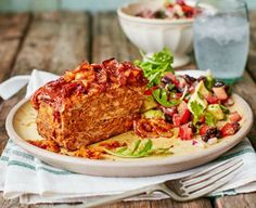 Sticky baked meatloaf with avocado & black bean salsa 2016