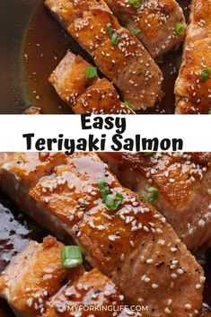 This easy and delicious teriyaki salmon recipe is ready in less than 20 minutes. Quickly pan sear the fish and then cover in this amazing homemade teriyaki sauce. Salmon Recipe Pan, Sauce For Salmon, Salmon Recipes, Ninja Recipes, Lunch Recipes, Easy Recipes, Dinner Recipes, Seafood Pasta Recipes, Shellfish Recipes