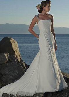 I'm selling A-line One Strap Wedding Dress - $185.00
