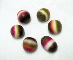 6 Oval and round ethnic style handmade beads by OrlyFuchsGalchen