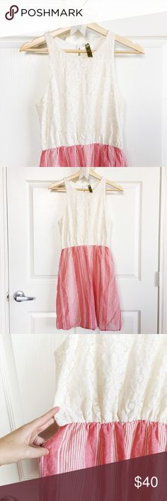 Lace + Pink Stripe Dress Ivory lace and blush pink stripe dress with keyhole closure and pearl button in the back. Bottom portion of dress is lined. Features stretchy waist and fabric is lightweight and flowy. Keyhole closure is torn but is being held in place with a safety pin (last picture) - I've been wearing it this way forever but it'd be an easy fix if you're good with a needle and thread. Perfect summer dress! Brand is Whisper sold by Francesca's Collection. Francesca's Collections…