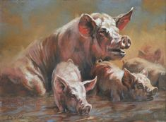 Hog Heaven Painting by Mia DeLode - Hog Heaven Fine Art Prints and Posters for Sale