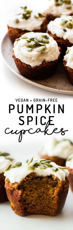 Cupcakes or muffins – either way this grain-free date-sweetened recipe is the perfect pumpkin spice snack or frosted treat! #vegan #paleo #healthy