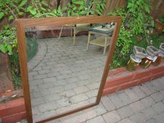 Mid Century Mirror teak frame mirror $60, Item # ML-1017, In stock http://www.findandtreasure.com/catalogue.html