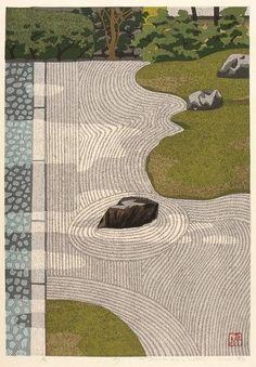 Masao Ido. Zen Garden, Japan. 1983. Woodcut printed in colors
